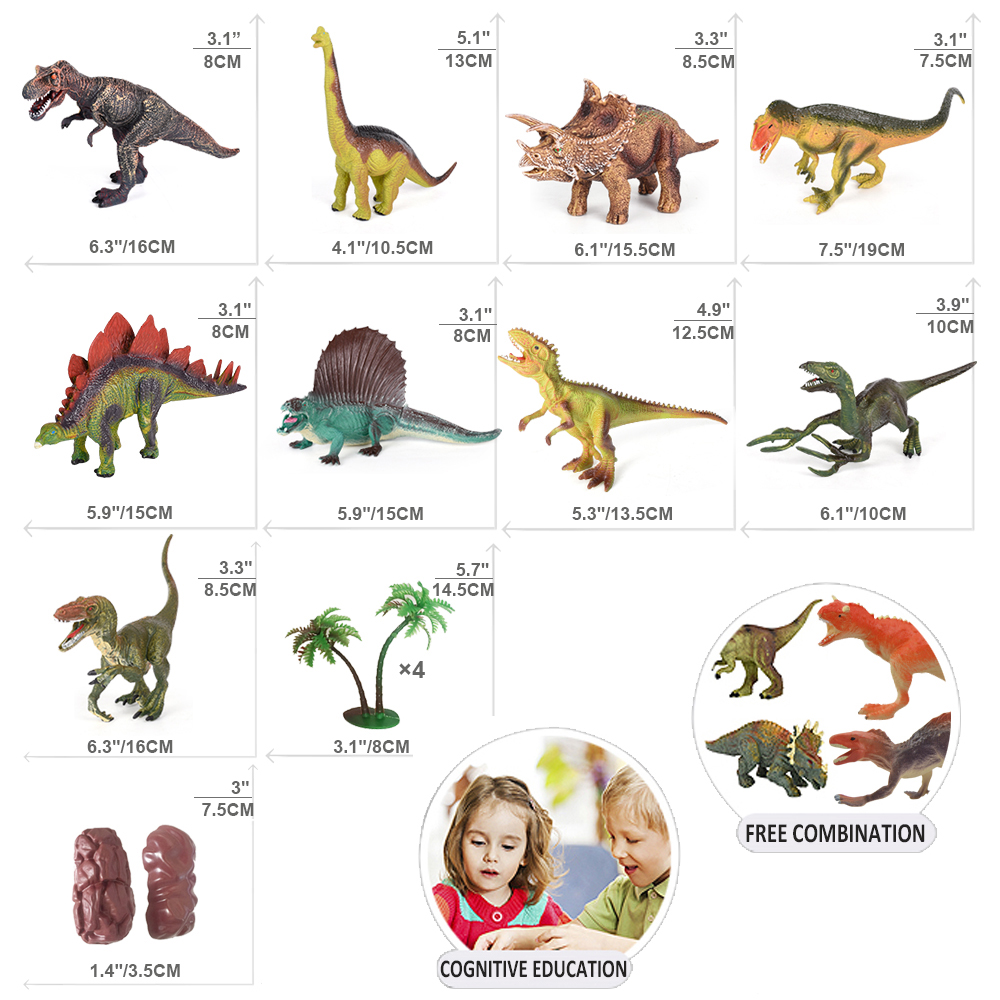 Kids Educational Plastic Realistic Dinosaur World Toys Figure with Activity Play Mat Set
