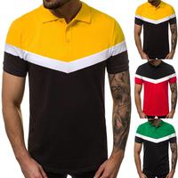 casual wear for men color combination polyester fabric color block shirt polo shirt polo black yellow polo shirt