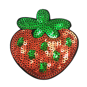 Factory superior iron on patch custom super cute sequin strawberry patch for T shirt tag