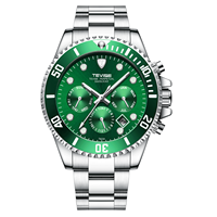 Tevise 823 casual mens watches classic green blue stainless steel band hand watches