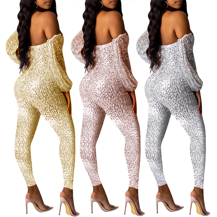 YH-T010 groothandel mode sexy off shoulder lange mouwen Sequin Fashion Night Club bodycon jumpsuit mujer vrouwen 2019