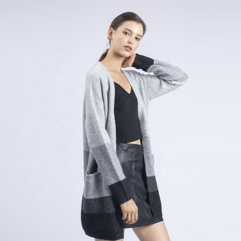 High quality women Light gray and <strong>black</strong> autumn winter knit <strong>long</strong> sleeve <strong>Cardigan</strong> <strong>long</strong> knitted Sweater