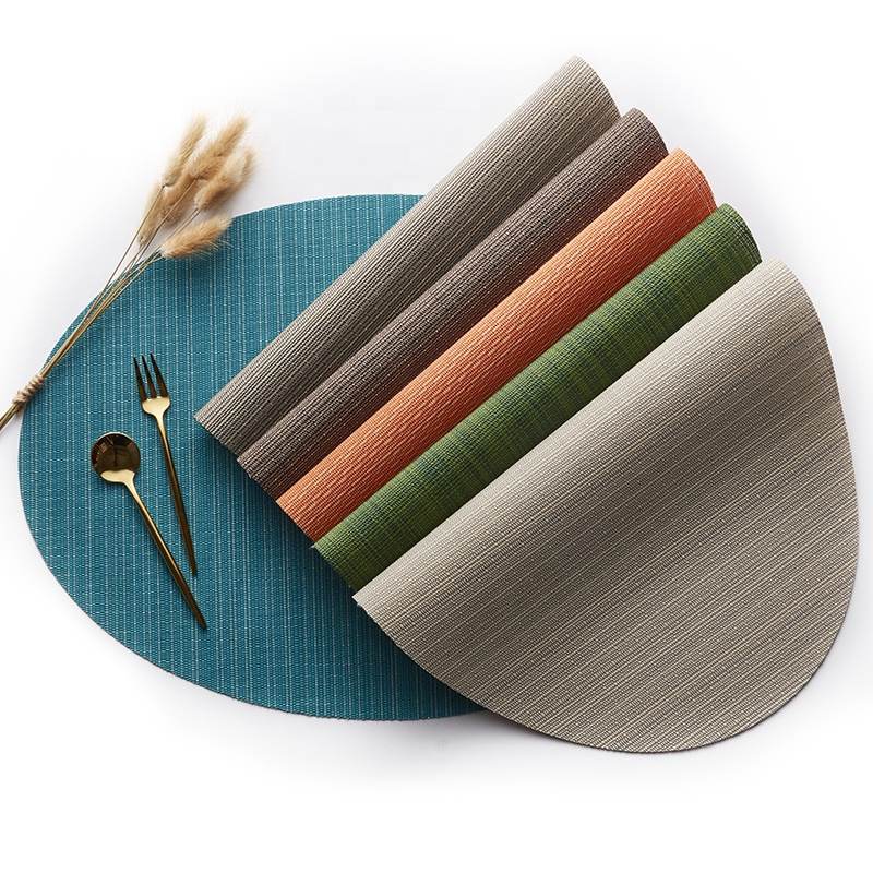 Tabletex Set of 6 Bamboo <strong>Oval</strong> Woven <strong>Vinyl</strong> Heat Resistant <strong>Placemats</strong> Washable Table Mats for Kitchen Table