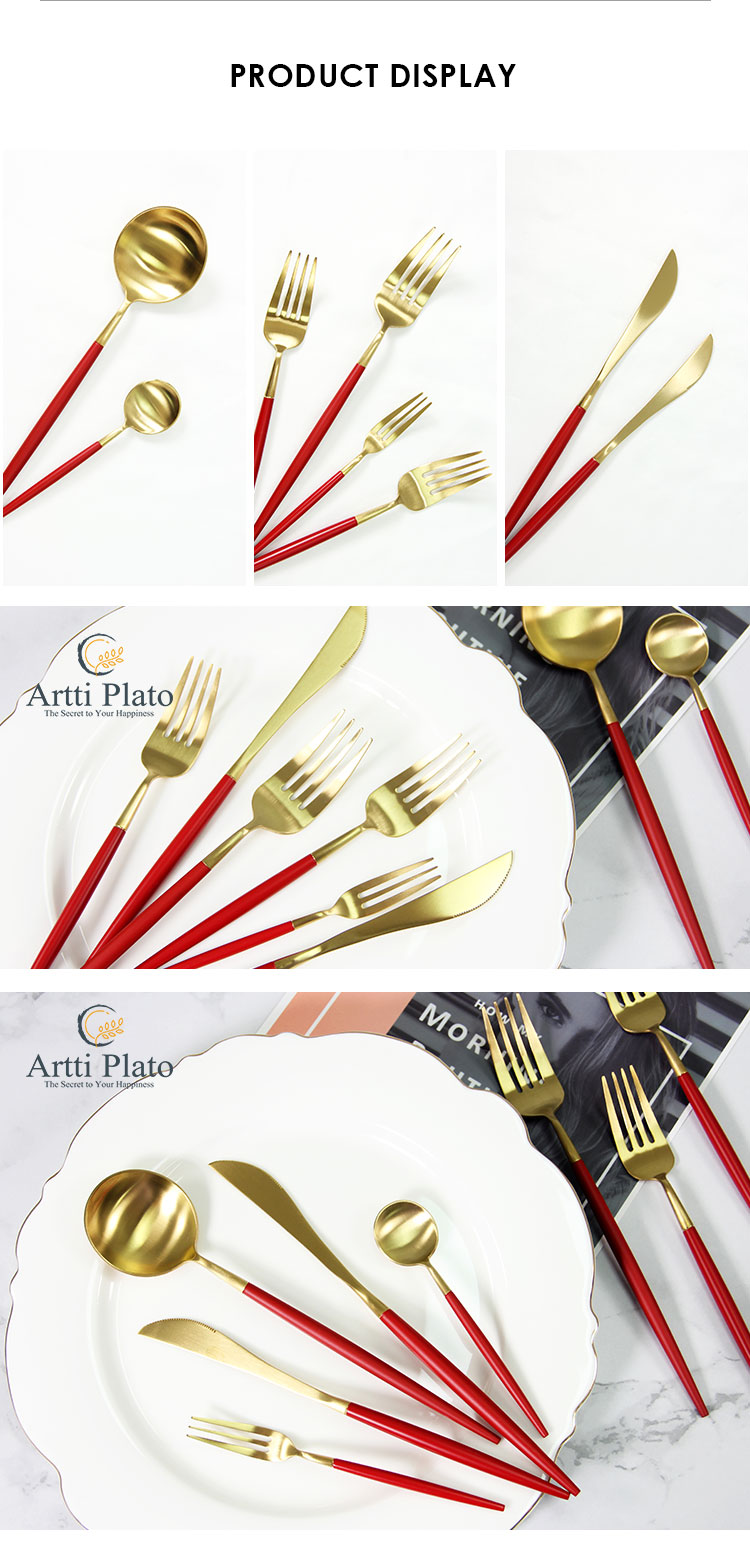 New USA 304 stainless steel cutlery red gold food grade flatware set