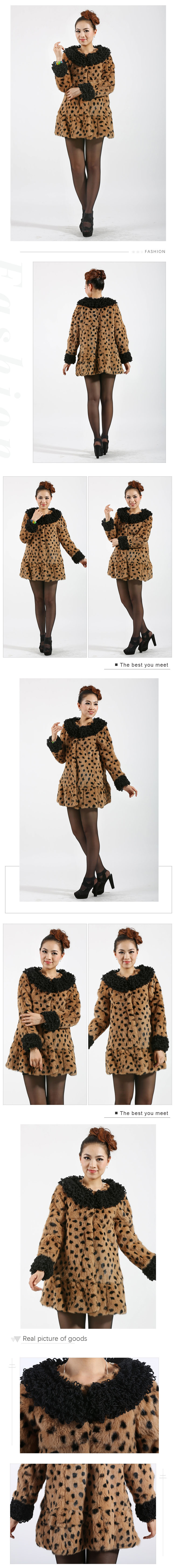 long style rabbit fur coat leopard pattern comfortable women fashion fur coat
