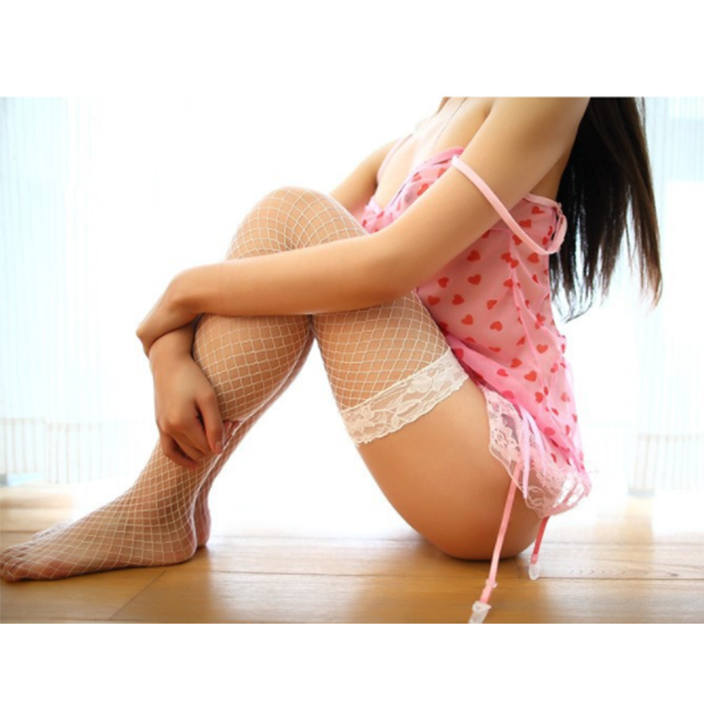 New Arrival Japanese Sexy Mature Womens Fish Net Black Lace Mesh In-Tube Thigh High Fishnet Stockings