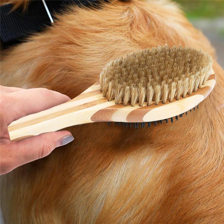 Fabrik direkte versorgung haustier hund pelz haar zwei-seitige massage holz kamm pinsel
