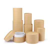 Eco-friend Kraft Paper Cylinder Packing box for Tea/Coffee/Herbs, Mini Cylinder, Durable Small Round Paper Drum
