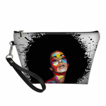 Zwarte Kunst Afro Lady Meisjes Print Make Up Bag Organizer Cosmetica Vrouwen Make-Up Case Reizen <span class=keywords><strong>Cosmetische</strong></span> Tas