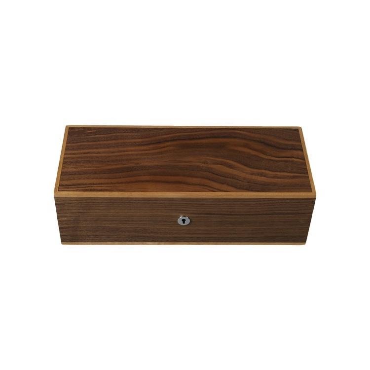 DS грецкий орех шпонированная коробка для хранения Запираемая деревянная Ремесленная Подарочная коробка с замком деревянная коробка на заказ