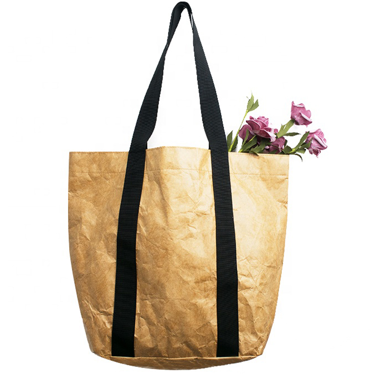 Personalizzato Durevole Impermeabile Riutilizzabile Lavabile Brown Tote Bag di Carta Tyvek Shopping Bag