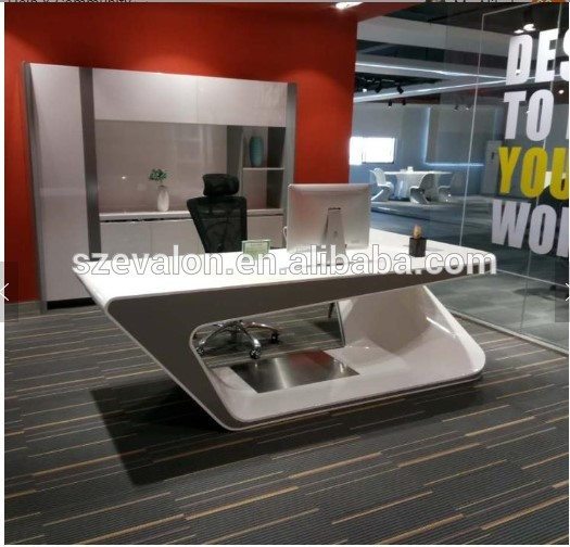 Modern Computer Reception White Furniture Luxury Table Office Desk  ,corians stone Boss Use Computer Writing Table