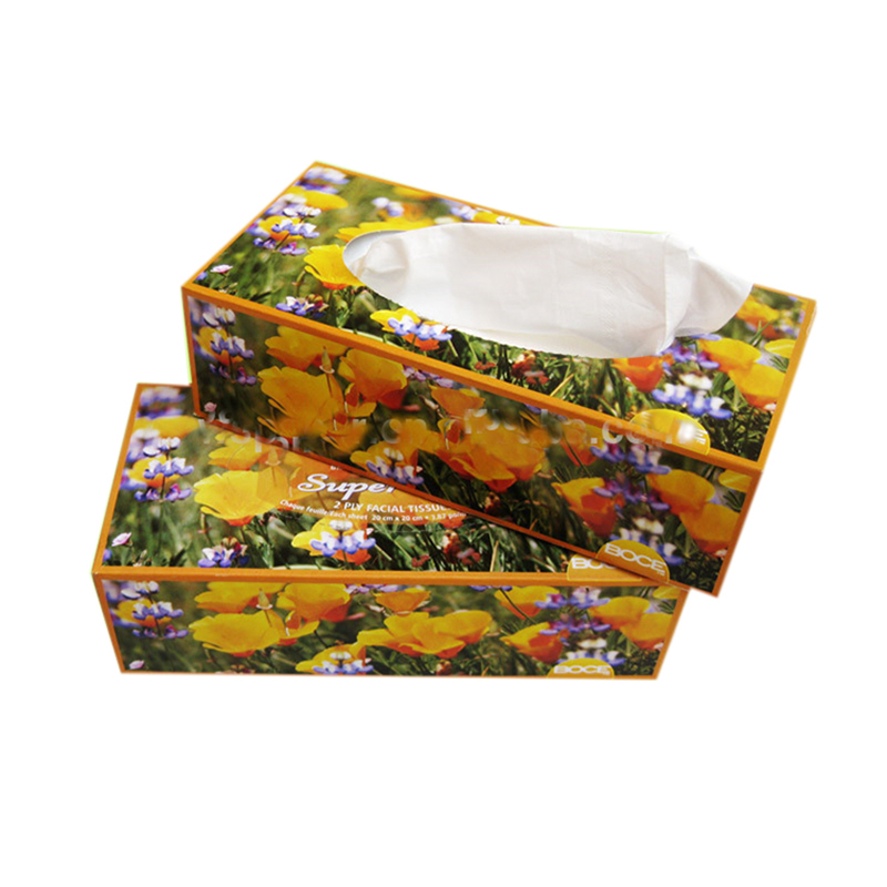 Factory price 2 ply emboss printed premium pop up  box pack facial tissue washroom use facial tissue