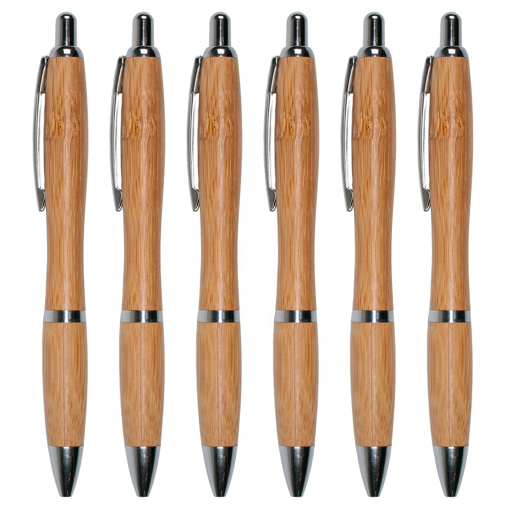 Hot Sales 0.5 Black Ink Bamboo Press Ballpoint Pen With Logo For <strong>Promotion</strong> Office And School