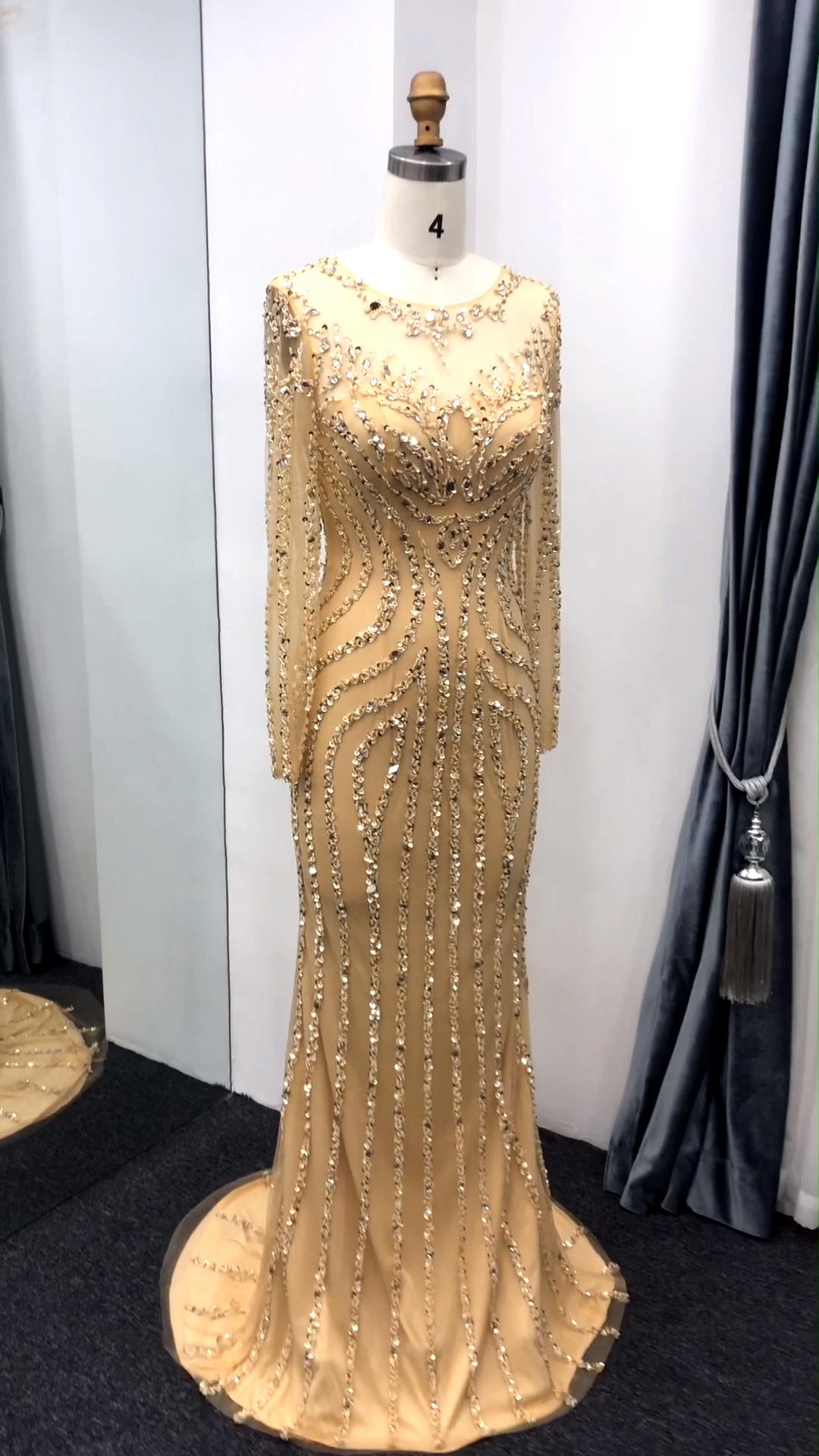 Golden Ready Made Beaded Gowns Long Sleeves Mermaid Design Luxury Crystal Diamond Evening Dress