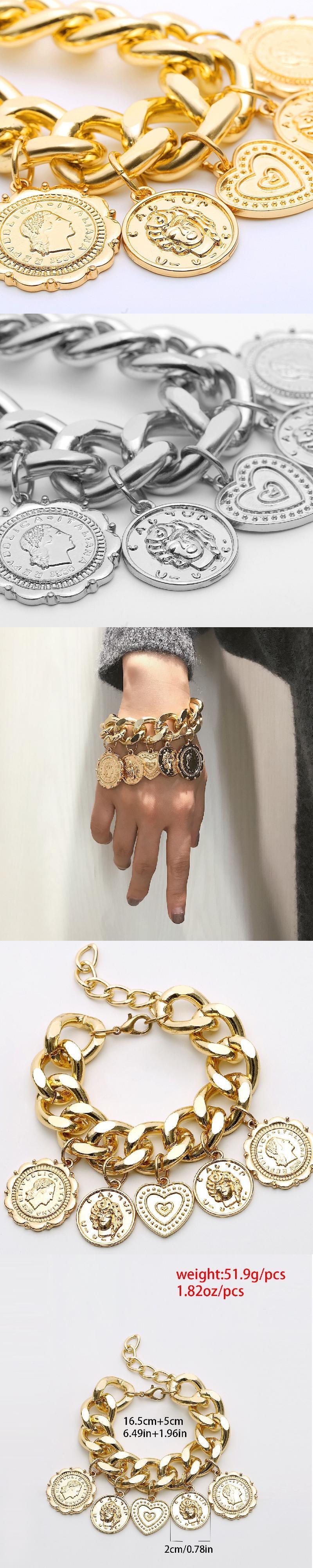gold coin bracelet Wedding birthday christmas costume beach party decorations  alloy metal charm pendant bracelet jewelry set