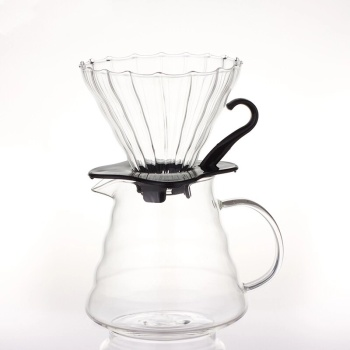V60 Coffee Maker, Black 350ml/600ml Pour Over Coffee Dripper, Glass Range Coffee Server Hand Coffee