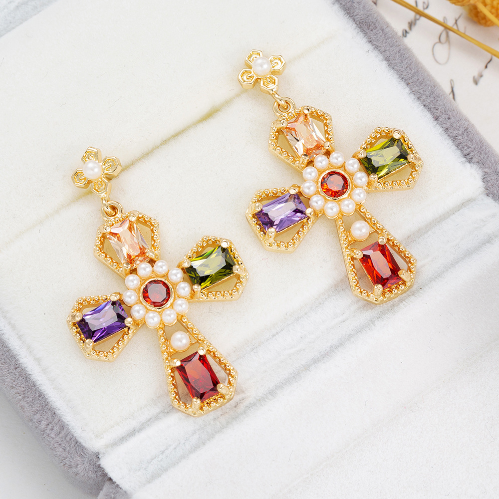 LYS004 Trade Assurance Latest Trendy Inlaid Colored Zircon Pearl Cross Stud Earrings Exquisite Rhinestone Women Earrings