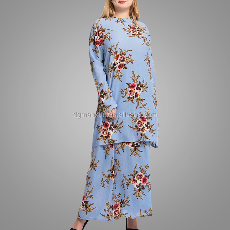 Big Size Malaysia Baju Kurung Fashion Printed Kebaya Baju Arab Style Blouse Skirt Two Pieces Islamic Clothing