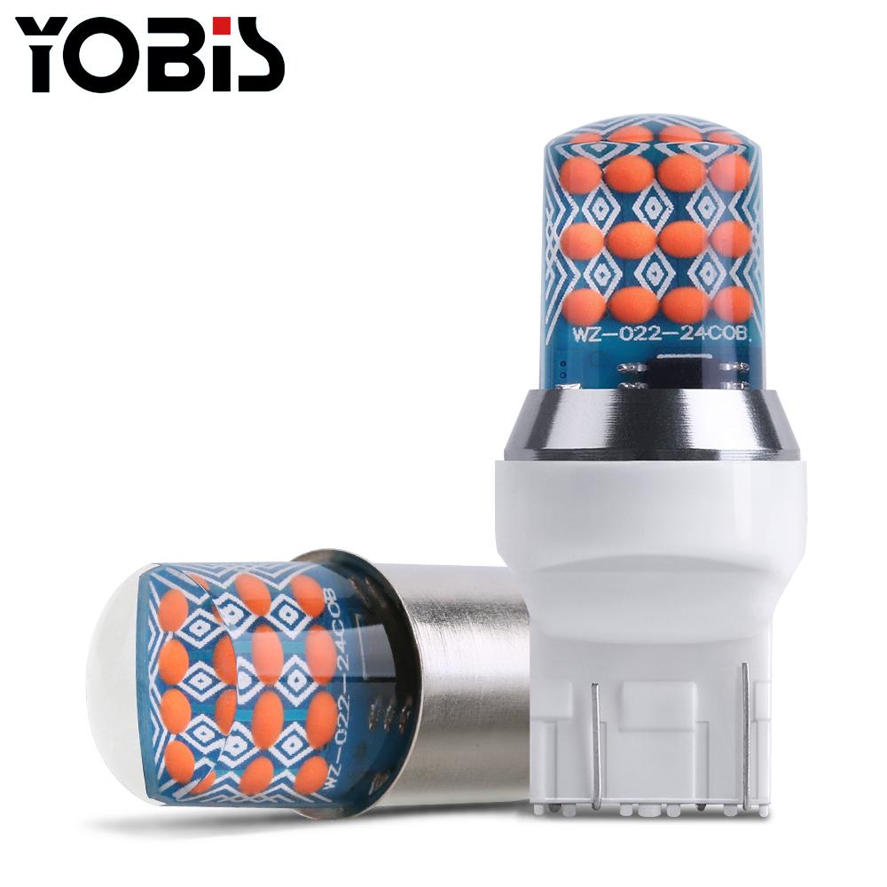 Yobis Latest 12v Auto Lamp Bulb T20 Roof Type 24smd Car Brake Light Highlight Led Strobe Car Turn Signals For Retrofit