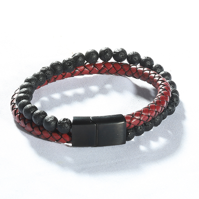 Stars Forever Double Row Natural <strong>Red</strong> <strong>Tiger</strong> <strong>Eye</strong> Mens Leather Bead <strong>Bracelet</strong>