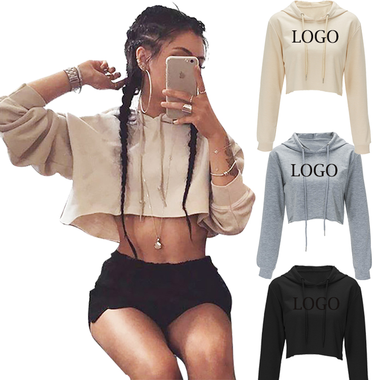 OEM Logo Latest Design Lady Pullover <strong>Hoodies</strong> Women Long Sleeve Crop Top