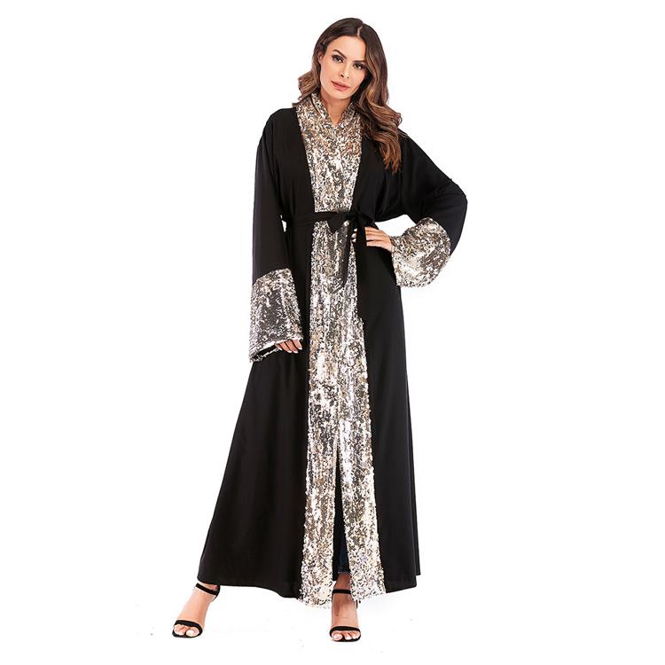 ファッションドレス 2019 女性教徒の女性の服イスラムオープンアバヤドレス黒スパンコールドバイアバヤ
