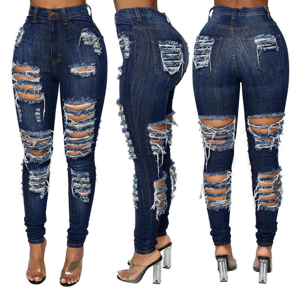 Venta al por mayor azul oscuro señoras Jean mujeres destruido, Skinny de Denim de cintura alta pantalones de las mujeres