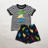 2020 children dinosaur applique woven shorts cotton outfit boys clothing set for summer