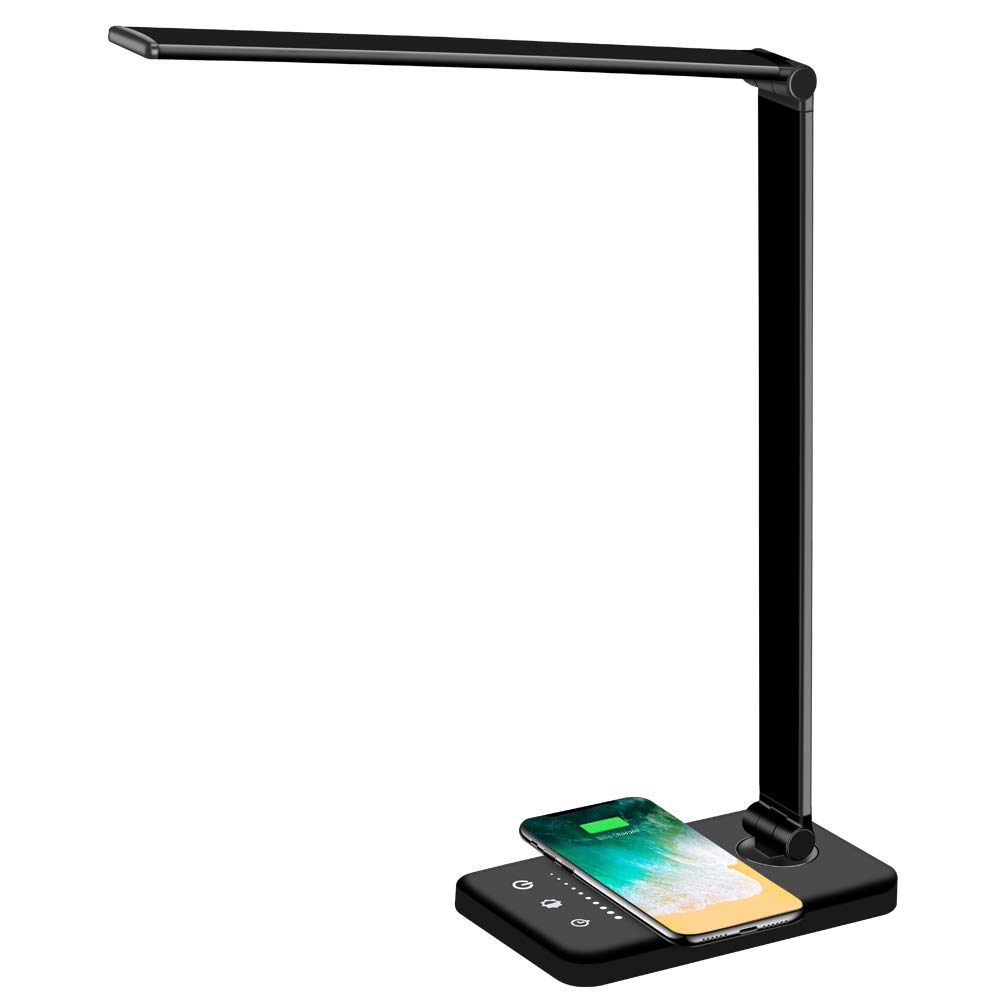 Multifunctional Fast Wireless Charger LED Desk Lamp with USB Charging Port, 5 Lighting Modes Reading student desk lamp