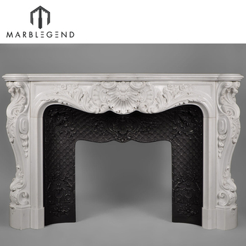 Interior Decoration China Factory Natural Stone White Marble Fireplace Mantel Surround