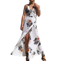 F20482A European fashion woman maxi dress floral printed expanshion skirt deep v neck long dress for ladies