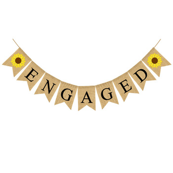 Bridal Shower Engagement Party Decorations Vintage Rustic Wedding Burlap Engaged Banner