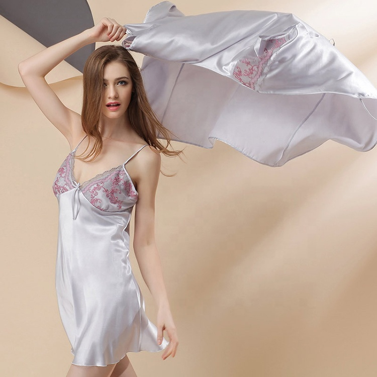 Wholesale Custom Plaid Bride Silk Nightgown And Robe Set