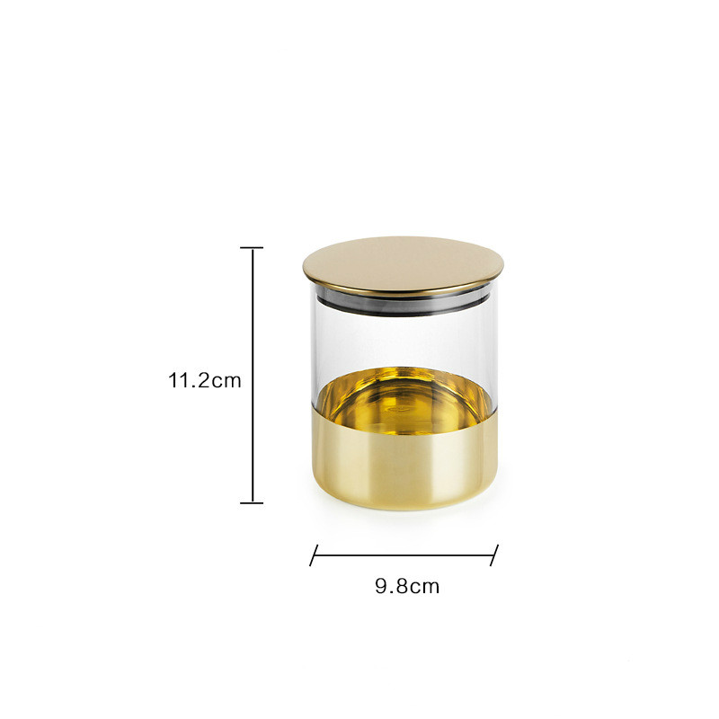 decorative gold wide mouth glass canisters with metal lids kitchen storage containers sets - buy