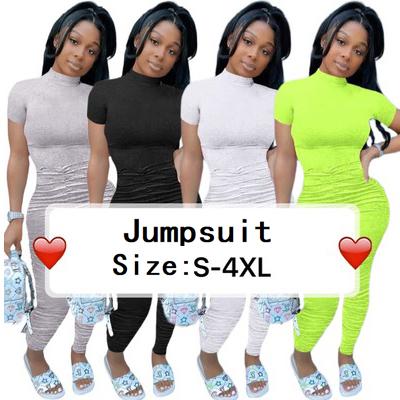 女性半袖積み重ねウエストジャンプスーツパーティークラブワンピース全体のロンパース遊び着積み重ねパンツ女性衣類