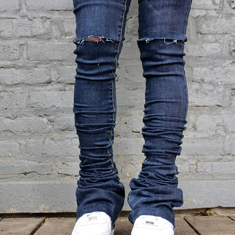 2021 New Arrivals Womens Ruched Denim Blue High Waist Skinny Stacked Pants Denim Jeans