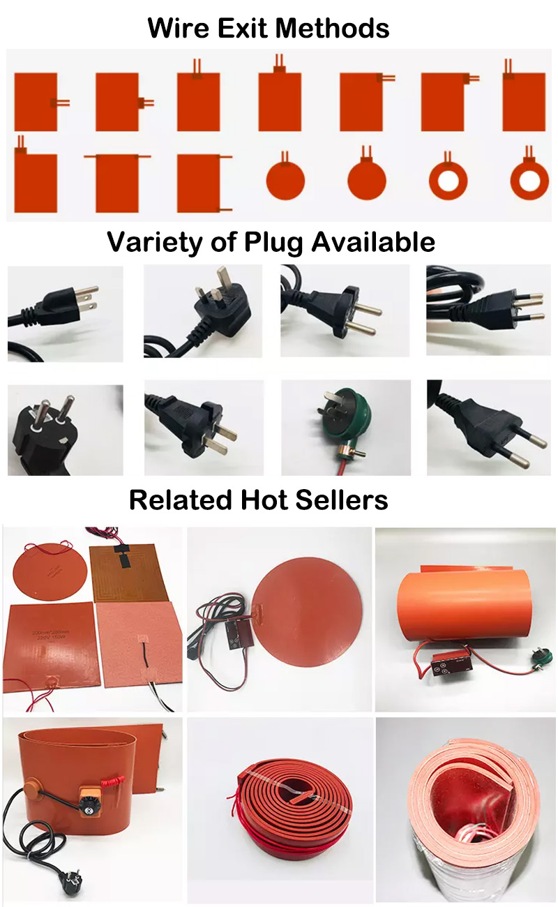 Orange 2*16.5 Inch 250W 120V Silicone Rubber Warming Warmer Belt