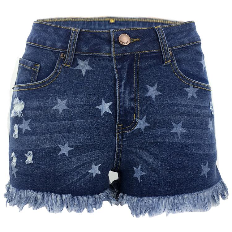 Großhandel mode hot pants sexy mini denim gerissen frauen stern kurzen jeans