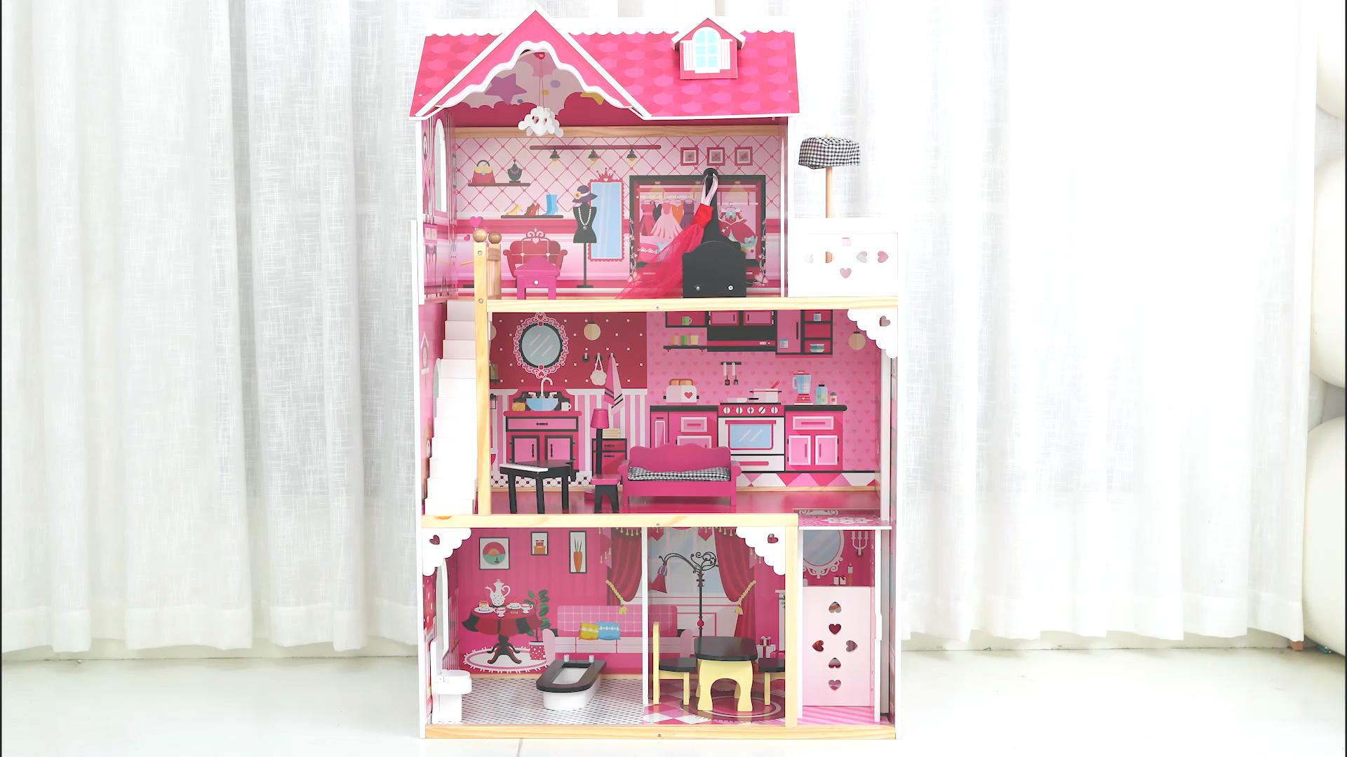 Novo estilo de venda quente casa de Jogo brinquedo casa de boneca casa de bonecas de brinquedo do bebê brinquedos de madeira definir rosa