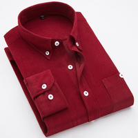2019 Christmas Design Long Sleeve Solid Color Corduroy Shirt Men Red