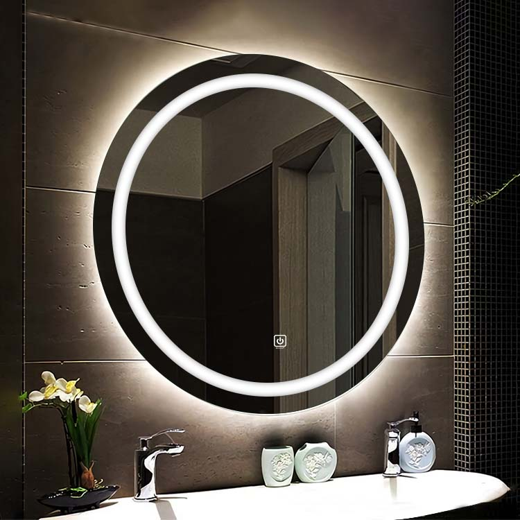 Dimmable memory ring lighting led mirror hotel lighted round mirror for bathroom