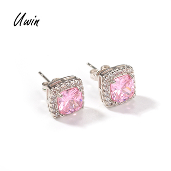 Iced Out Baguette Pink CZ Stud Earrings Square Zirconia Earring Women Bling Jewelry