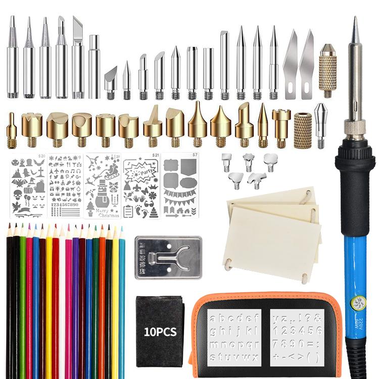Nuevo Quema De Madera 21 piezas Kit de herramientas de pirograbado Soldar Latón consejos
