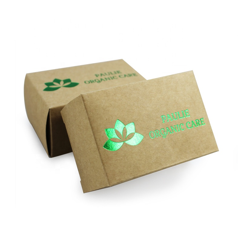 Custom design die cutting recycled package kraft paper soap box with hot stamping