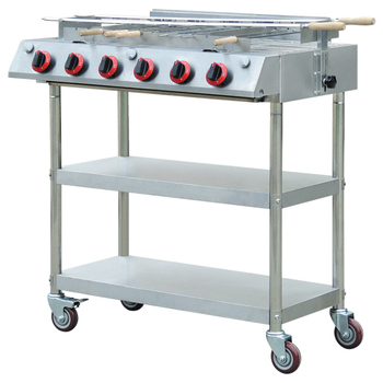 Stainless Steel BBQ Gas Grill With Two Bottom Shelves, Mobile Outdoor Gas Barbeque Grills For Skewers EB-W07