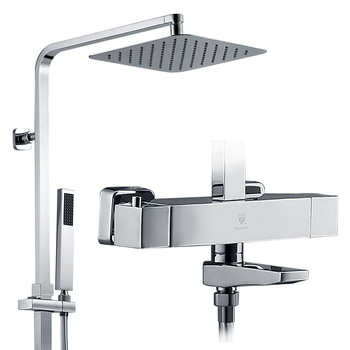 Square style bathroom bath shower set thermostatic faucet