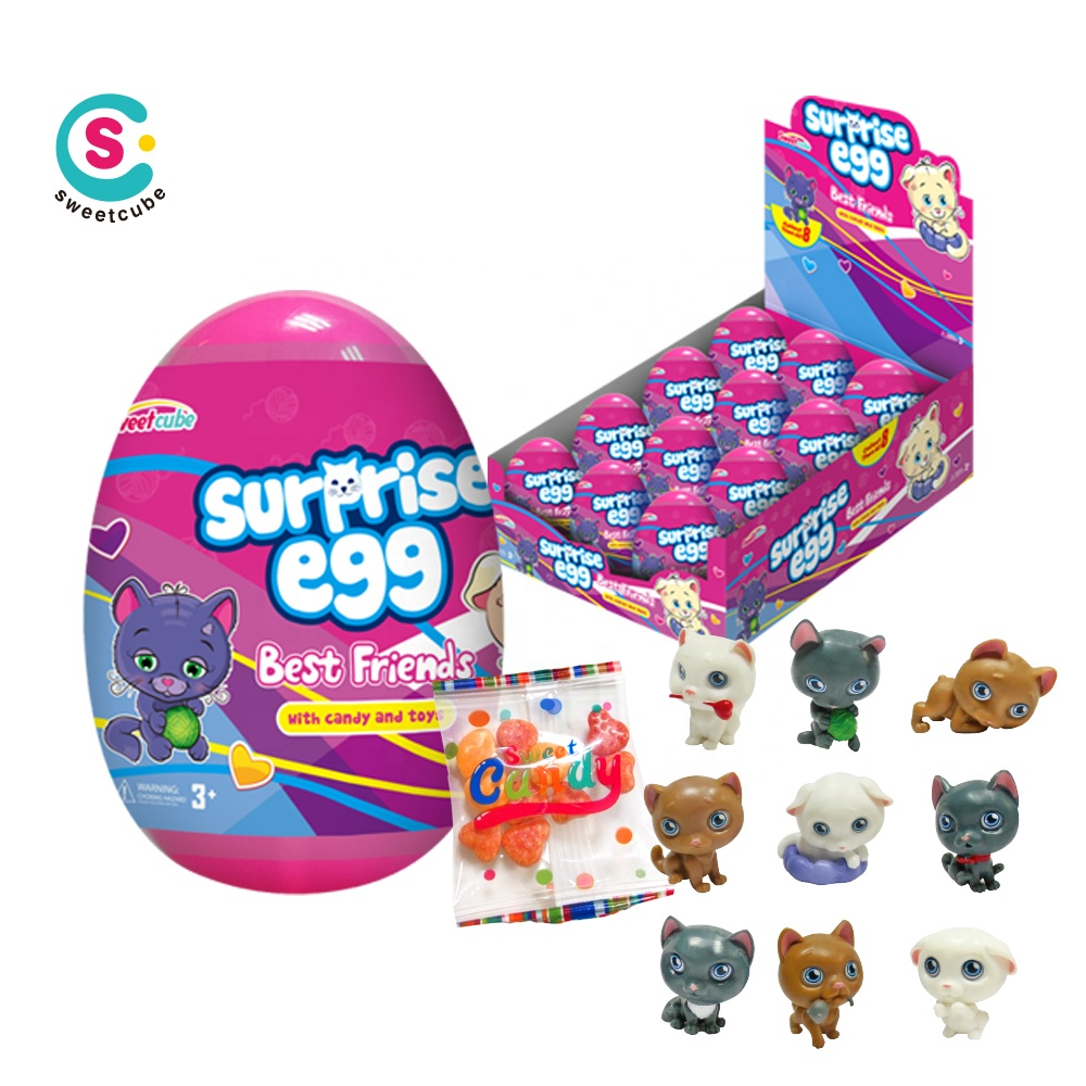 wholesale cat big capsule plastic toy inside printed candy toy surprise egg with candy
