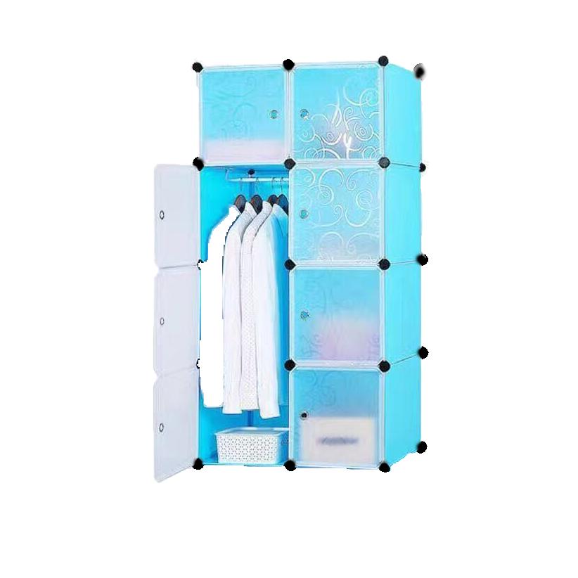 आसान इकट्ठा बहुउद्देशीय बेडरूम 8 क्यूब्स भंडारण Foldable प्लास्टिक अलमारी