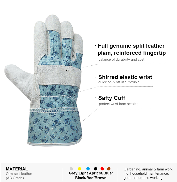 Breathable hand protection agriculture gloves ladies garden line genie gloves leather